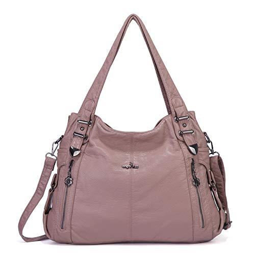 Angelkiss Damen-Handtasche, groß, Doppelreißverschluss, mehrere Taschen, verwaschene Schultertasche, Designer-Handtaschen für Frauen