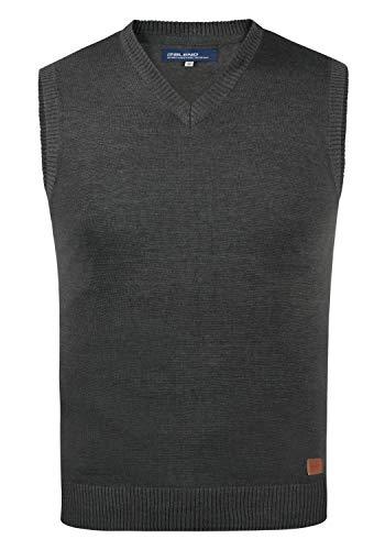 Blend Larsson Herren Pullunder Strickweste Feinstrick mit V-Ausschnitt, Größe:M, Farbe:Charcoal (70818)