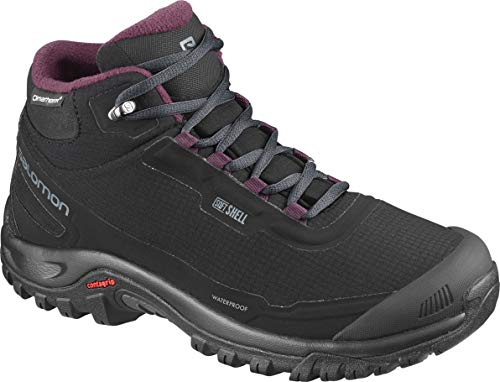 Salomon Shelter CS WP W, Zapatillas de Senderismo Mujer, Negro (Black/Ebony/Winetasting), 41 1/3 EU