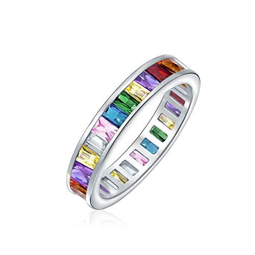 AAA cubic Zirconia LGBTQ colorido arco iris canal set rectángulo esmeralda corte Baguette CZ eternidad anillo aniversario alianza para mujeres 925 plata de ley 4mm anillos apilables