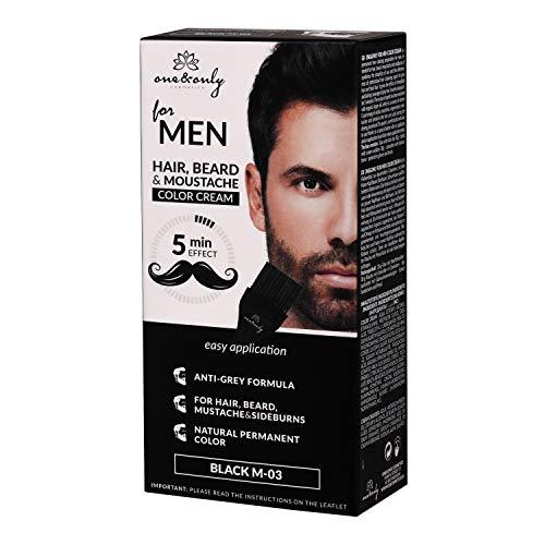 One&Only for Men - Crema de color para caballero, beard & sideburns, fórmula antigris, 5 minutos, sin amonias, sin parabenos, sin PPD, 60g, (BLACK)