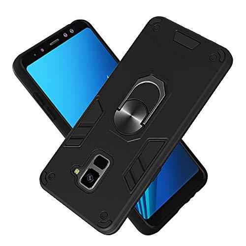 FAWUMAN Hülle für Samsung Galaxy A8+ / A8 Plus (2018) mit Standfunktion, PC + TPU Rüstung Defender Ganzkörperschutz Hard Bumper Silikon Handyhülle stossfest Schutzhülle Case (Schwarz)