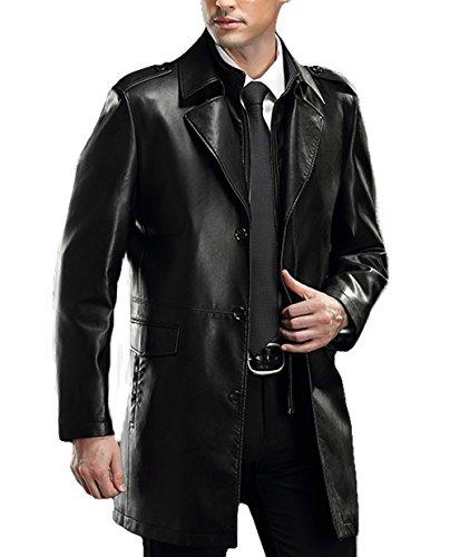 PENER Men's Lapel business leather Coat Lambskin Leather Car Coat (L, black)