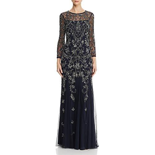 Adrianna Papell Women's Long Sleeve Bead Dress, Midnight, 2 (Apparel)
