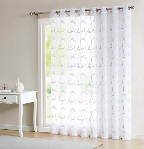 LinenZone - Maria - Embroidered Semi Sheer Curtains With Grommets - 1 Extra Wide Patio Curtain Panel - Ideal for Sliding and Patio Doors (1 Panel 102'W x 84'L, White - Linen)