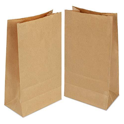 Gaoyong 100 Stück Papiertüten Braun, Geschenktüten Klein 21x12x7 cm Kraftpapiertüten für Geburtstagsfeiern, Weihnachten, Hochzeit, Firmenfeier(verdicken70gsm)