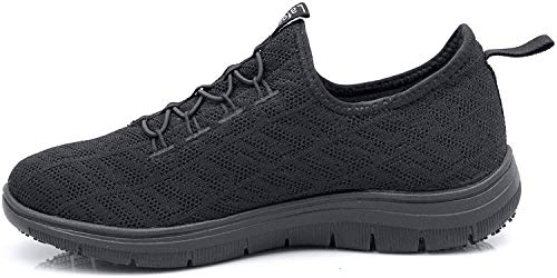 Laforst Jewel 3155 Womens Synthetic Mesh Upper Lace Up Slip Resistant Server Waitress Slip On Sneaker Black 7.5