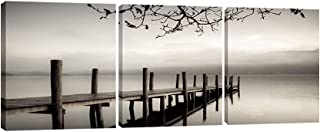 Pyradecor Peace 3 panels Black and White Landscape Giclee Canvas Prints on Canvas Wall Art Modern Stretched and Framed Pic...