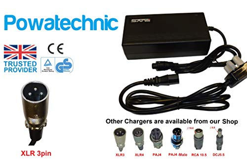 Cargador de batería de litio inteligente 36 V/42 V 3 A para bicicletas eléctricas, scooters, sillas de ruedas y mucho más.