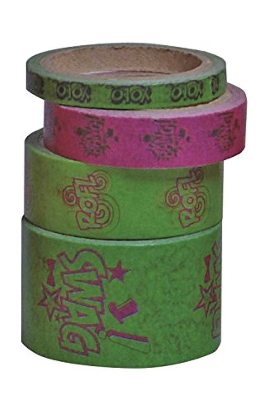 Kleiber 5/10/ 15/25 mm Coloured Adhesive Sticky Tape for Wrapping/Decoration, Pack of 4 Rolls, Green