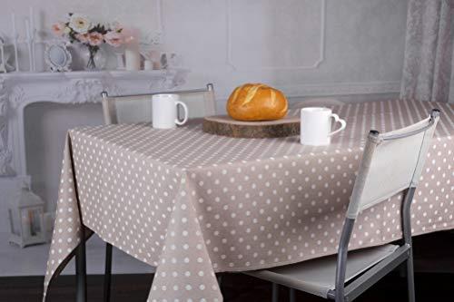 HomeLife Mantel Rectangular de 10 plazas | Protector de Mesa de 140 x 240 cm | Mantel de algodón y poliéster Fabricado en Italia | Estampado de Puntos Blancos, Color Beige