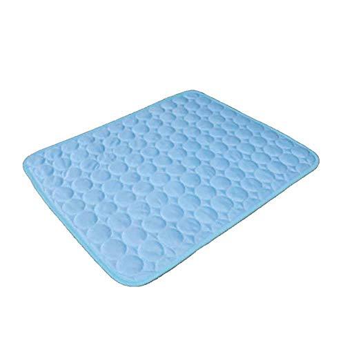 XIAOKUKU Alfombra para Perros Dormir, Alfombrilla de Refrigeración Cojines para Mascotas Manta de Refrigeración Transpirable Alfombra de Dormir Suave y Refrescante-Azul_L