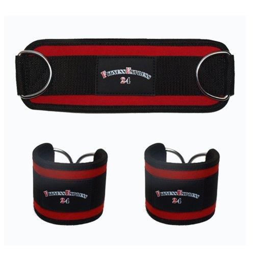 1 Paar robuste Fitness-Fußschlaufen mit Ringösen für Kabelzug-Übungen/Ankle Straps/Beintraining am Seilzug/Workout für Beine und Po/Beinschlaufen/Fußmanschetten