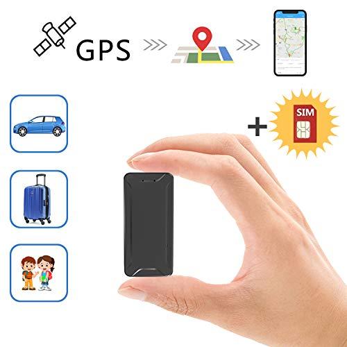 Mini Localizadores GPS, Real Antirrobo GPS Localizadores para Vehículos/niños con Seguimiento de Actividad Fuerte Imán Recargable GPS Tracker con Aplicación Gratuita para Android iOS AT2
