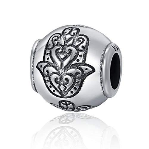 FeatherWish - Abalorio de plata de ley 925 con diseño de ojo del mal de Hamsa, compatible con pulsera Pandora