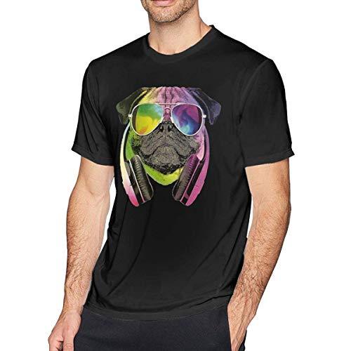 Mabby Camiseta personalizada de DJ Rock Dog para hombre, diseño gráfico divertido de manga corta