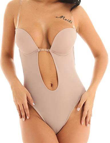 iEFiEL Damen Body Unterwäsche Bodysuit tiefer V-Ausschnitt Lingerie Bodys Tops Oberteile BH Push-Up Einteiler Nachtwäsche (36 (Cups 36C,36D,38B), Khaki)