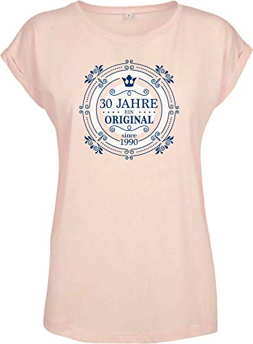 """Camiseta de cumpleaños con texto en alemán """"30 Jahre EIN Orginal - Jahrgang 1990 - Treinta estrellas de cumpleaños - Regalo para el 30 aniversario - Top para mujer y novia, para mujer rosa S"""
