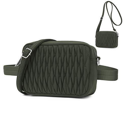 Wind Took Mode Umhängetasche Bauchtasche 2 in 1 Damen Klein Tasche Gürteltasche Schultertasche Handtasche für Reisen Partys Sports Armee-Grün