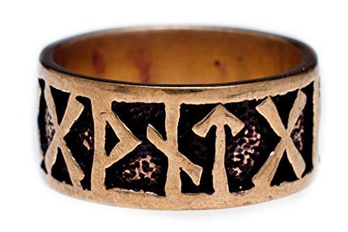 Windalf Wikinger Ring FUTHARK h: 0.9 cm Runen-Ring Vintage Edle Bronze (Bronze, 70 (22.3))