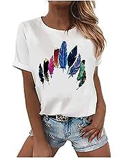 ChIcirly T-shirt voor dames, ronde hals, veer/vlinder, modieus motief, shirt, zomer, bovenstuk, casual, ronde hals, ondoorzichtig, tuniek, korte mouwen, hemd, blouse, voor tienermeisjes en vrouwen