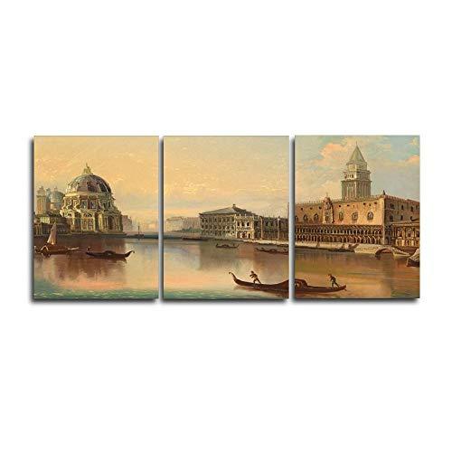 Generieke 3 panelen Londen City River boot poster en drukgrafiek muurkunstwerk Nordic Home woonkamer decoratie canvas kalligrafie schilderij