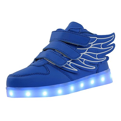 Skateboard Schuhe Flügel Turnschuhe Jungen Mädchen Wanderschuhe Schuhe mit LED Lichter blinken Schuhe - Blau, 27