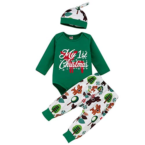 My 1st Christmas Outfit Newborn Baby Boy Girl Reindeer Romper Top + Leggings Pants with Hat 3PCS Outfit Long Sleeve Pajamas Set Xmas Holiday Clothes Green 1st Christmas Reindeer 12-18 Months