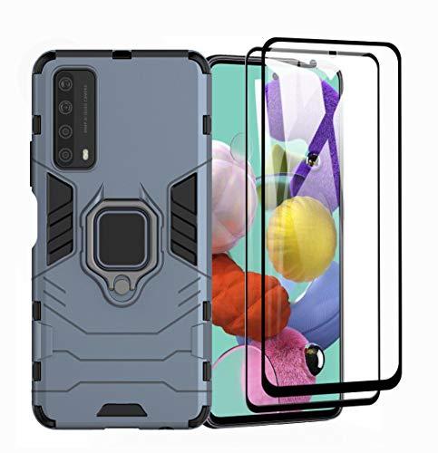 GOGME Cover per Huawei P Smart 2021 + 2 Vetro Temperato, Armor Custodia con 360 Gradi Girevole Anello e Supporto Magnetico Auto, Silicone TPU e PC Doppio Strato Protettiva Bumper. Blu