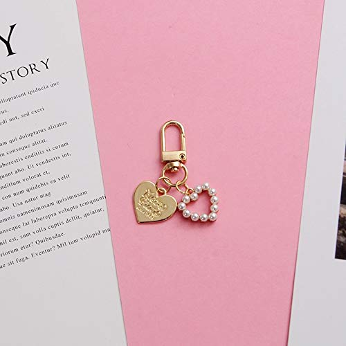 Llavero de metal de lujo con corazones dorados y perlas para el coche, regalo para mujeres (color: perlas de corazón)