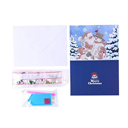 Ogquaton - Pintura parcial de diamantes de Papá Noel, muñeco de nieve, manualidades y manualidades, tarjeta de felicitación de día festivo, regalo para Navidad, feliz año nuevo, muy práctico y popular