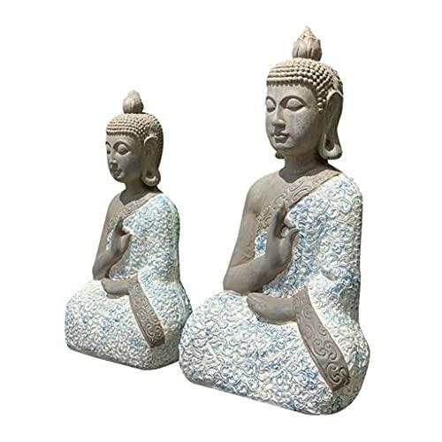 GaoF Foxi 1 Pieza de Estatua de Buda Chino Zen Azul y Blanco, Buda Sentado de óxido de magnesio Hecho a Mano, Adornos de estatuilla de Escultura de meditación, decoración de Paisaje de jardín