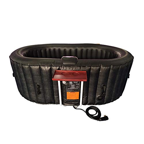 ALEKO Oval Inflatable Hot Tub Spa with Drink Tray, Cover and Filters - 2 Person Portable Hot Tub -...