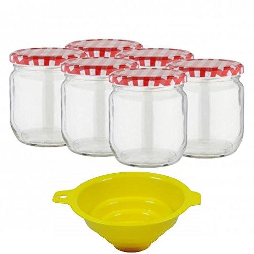Viva Haushaltswaren - 6 x großes Marmeladenglas / Einmachglas 425 ml mit Deckel, Twist-off Gläser Set rund - als Einweckgläser, Vorratsdosen etc. verwendbar (inkl. Trichter)