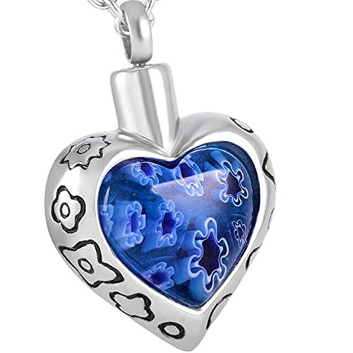 TIANZXS Memorial Jewelry Millefiori Collar de urna de cremación de corazón de Cristal para Soporte de Ceniza Colgante de Recuerdo de Cenizas de Acero InoxidableAzul