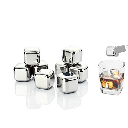 Stainless Steel Chilling Ice Cubes Reusable for Whiskey Wine Beverage silver,Cubitos de Hielo para bar y los amantes del Whisky, Vino, Cerveza y Licores (8 PCS)