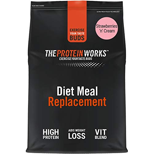 THE PROTEIN WORKS Diet Meal Replacement Shake | Nutrient Dense Complete Meal | Immunity Boosting Vitamins, Affortable | Healthy And Quick | Strawberries 'n' Cream | 500 g
