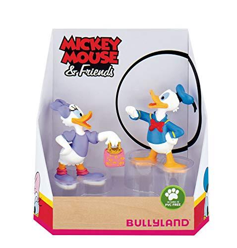Bullyland 15084 - Spielfigurenset, Walt Disney Mickey Mouse Geschenkset-Donald und Daisy, liebevoll handbemalte Figuren, PVC-frei, tolles Geschenk für Jungen und Mädchen zum fantasievollen Spielen