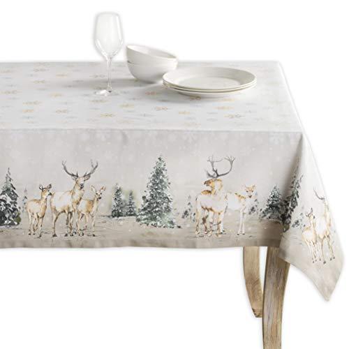 Maison d'Hermine - Tovaglia in 100% cotone, motivo: cervo nel bosco, per cucina, sala da pranzo, decorazione da tavolo, feste, matrimoni, Ringraziamento/Natale (rettangolo, 140 x 180 cm)