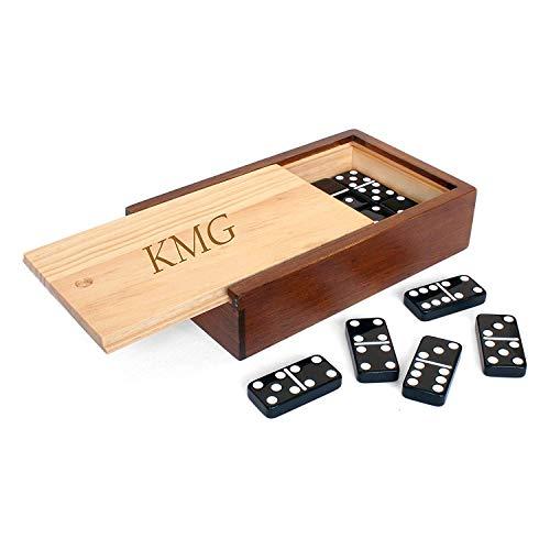 WE Games Custom Engraved Double 6 Black Dominoes Set in Wooden Case