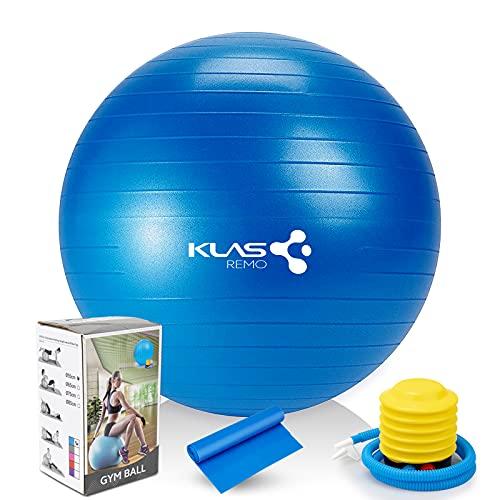 KLAS REMO Ballon Fitness,Ballon de Gymnastique Ballon de Gym et de Grossesse décathlon,Pompe Incluse (55cm )