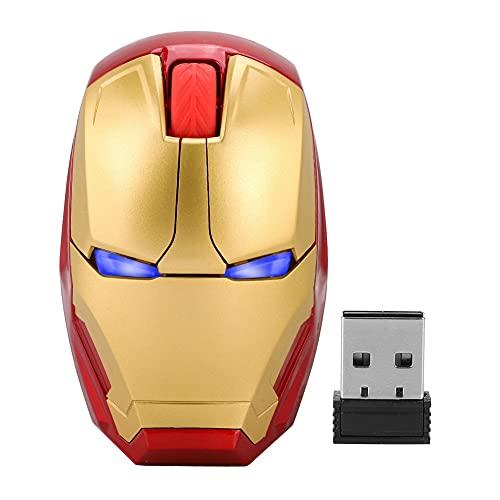 Drahtlose Maus, Iron Man-Maus 2.4G Tragbare Mobile Computermaus mit USB-Nano-Empfänger für Notebook, PC, Laptop, Computer, MacBook, reagiert bis zu 33 Fuß(Gold)