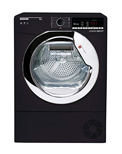 Hoover DXOC8TCEB Freestanding Condenser Tumble Dryer with Aquavsion, WiFi Connected, 8Kg, Black