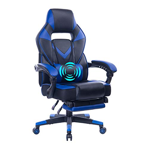 HEALGEN Reclining Gaming Chair with Adjustable Massage Lumbar Pillow and Footrest- Memory Foam PC Computer Racing Chair - Ergonomic High-Back Desk Office Chair GM005-Blue blue chair gaming