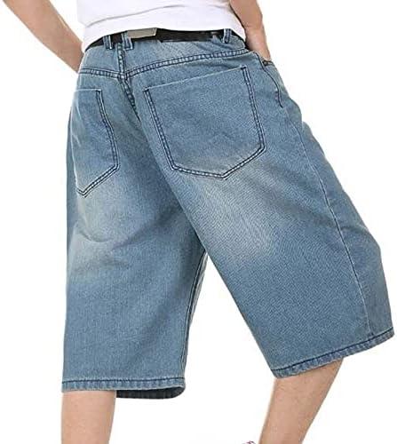 FMSZDSTMDNSDK Short Shorts for Men, Mens Shorts Hip Hop Denim Jeans Boardshorts Fashion Loose Baggy Cotton Shorts Big Size (Color : Blue, Size : 34)