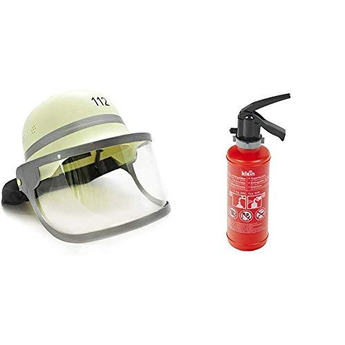 Idena 8040005 - Kinder- Feuerwehrhelm mit klappbarem Visier und Nackentuch & Theo Klein 8940 - Feuerlöscher mit Wasserspritzfunktion