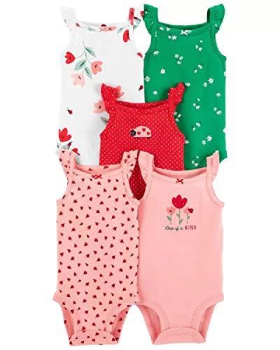 Kit Body Carter's 5 Peças Regata Babadinhos Joaninha Vermelho e Verde Bebê Menina (6M)