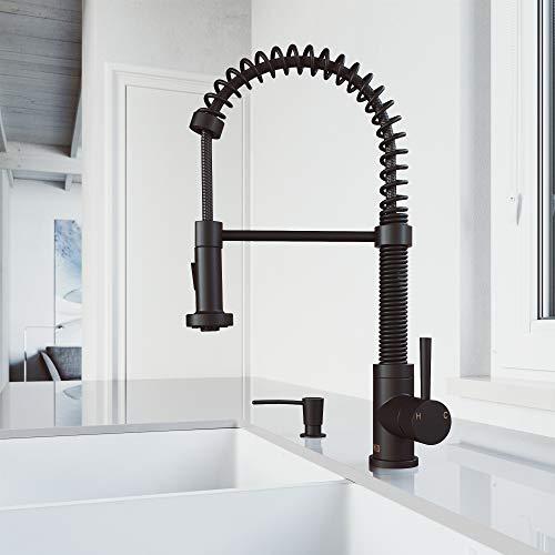 VIGO Edison Matte Black Single-Handle Deck Mount Pull-down Kitchen Faucet With Soap Dispenser