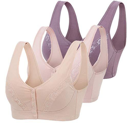 MIXZONES Wireless Cotton Bras for Women Lingerie Front Close U-Back Bra Leisure Comfortble Underwear Plus Size (36BC)