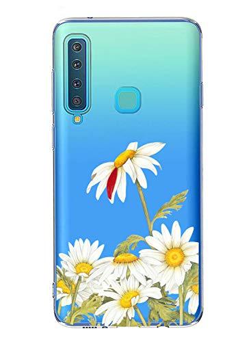 Oihxse Case Transparente Suave TPU Compatible con Samsung Galaxy C8/J7 Plus Funda [Lindo Caricatura Flor Serie Dibujos] Cristal Protector Carcasa Anti Rasguños Bumper Cover-Crisantemo
